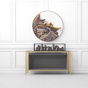 中式玄关边柜壁画模型