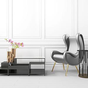 创意边柜单椅组合模型