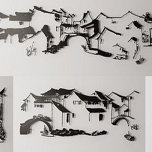 中式房屋建筑图壁挂模型