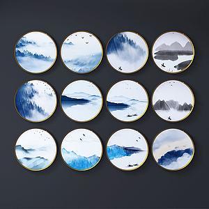 现代水墨画墙饰组合模型