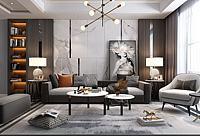 現代客廳沙發茶幾3d模型