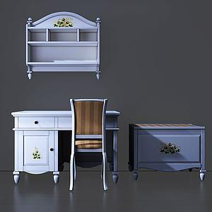 田园风格桌椅边柜壁柜组合模型3d模型