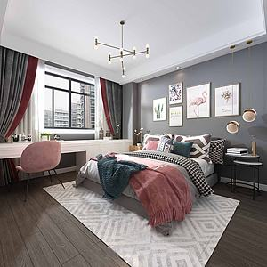 3d北欧卧室双人床模型