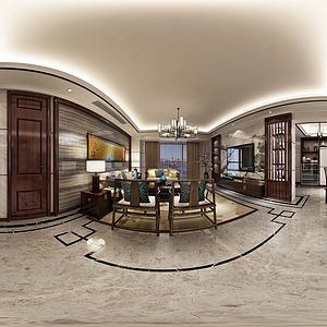 新中式風格客餐廳模型3d模型
