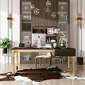 现代书桌书柜模型