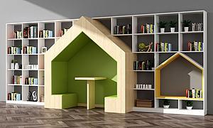 3d創意兒童圖書館書柜模型