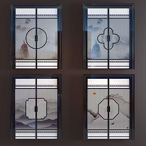 新中式玻璃水墨双开门模型
