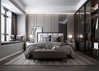 現代輕奢臥室雙人床3d模型