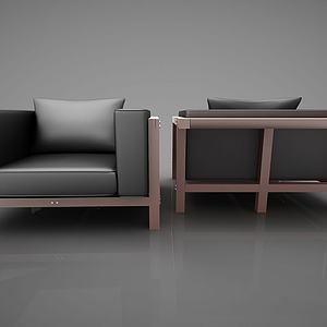 现代创意皮革沙发模型
