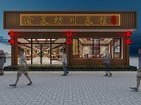 飯店餐館門頭3d模型