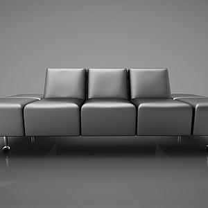 休闲皮质沙发模型