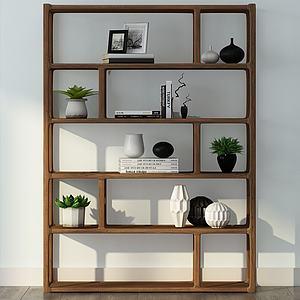 现代实木架子模型
