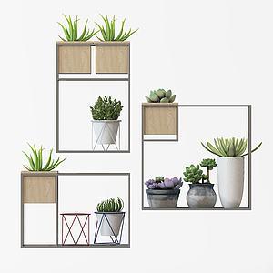 绿植花架盆栽架模型