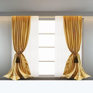 中式窗帘模型3d模型