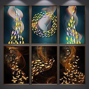 抽象三联装饰画模型
