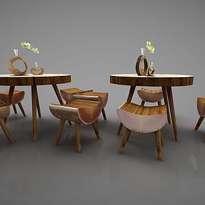 新中式茶桌组合模型