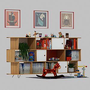 儿童书房书架模型