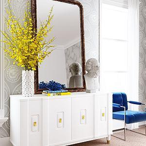 现代边柜花瓶摆件组合3d模型