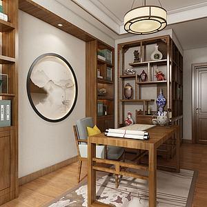 中式书房书桌3d模型