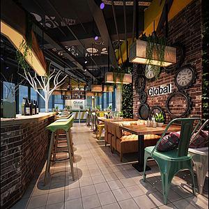 3d咖啡館、面包房模型