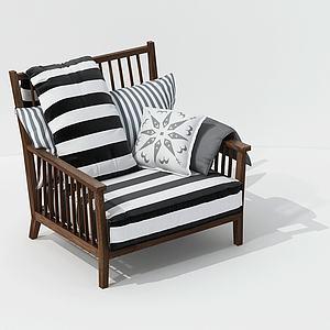 休闲斑马单人椅模型
