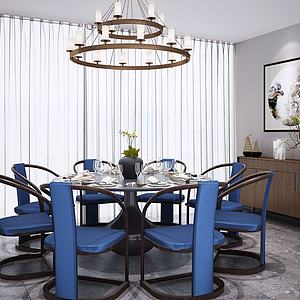 新中式圆形餐桌椅模型