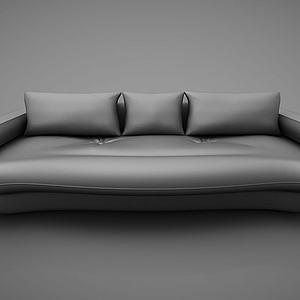 现代皮质三人沙发模型