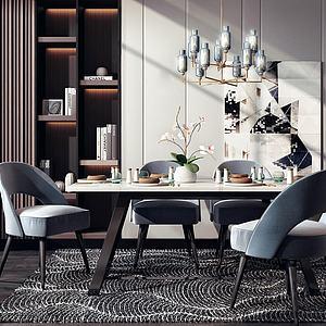 现代餐厅桌椅模型