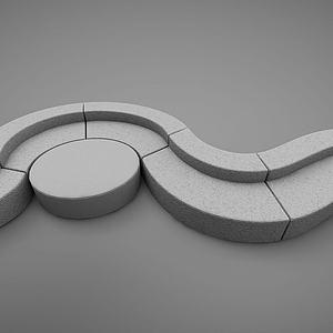 户外石椅模型