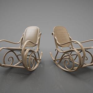 藤编摇椅组合模型