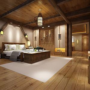 新中式酒店客房模型3d模型