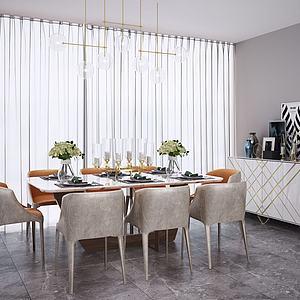 现代北欧餐桌椅吊灯模型3d模型