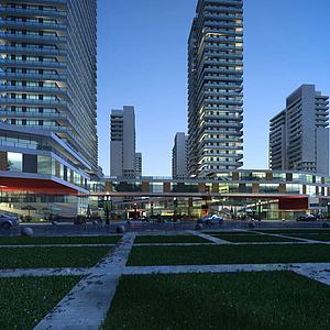 现代商业楼模型