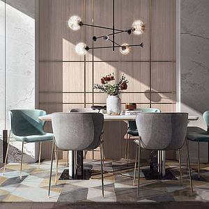 现代餐桌单椅模型