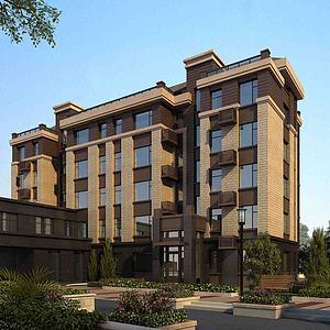 现代住宅大楼3d模型