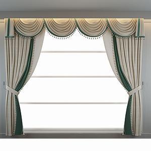 欧式窗帘模型3d模型