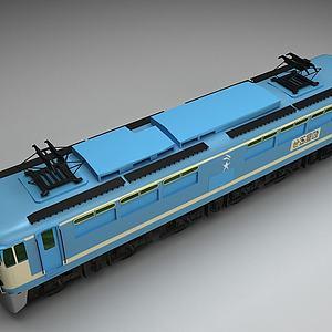 蓝色火车模型