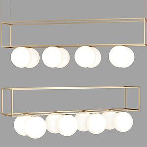 现代金属吊灯组合模型