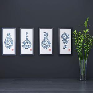 新中式装饰画组合模型