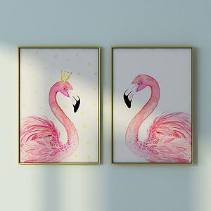 北欧粉鸵鸟壁画组合模型
