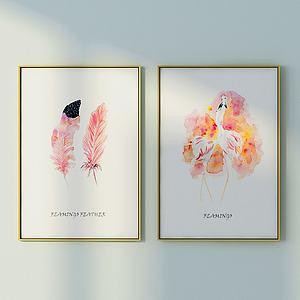 北欧鸵鸟与羽毛壁画组合模型