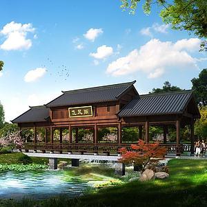 中式廊桥3d模型