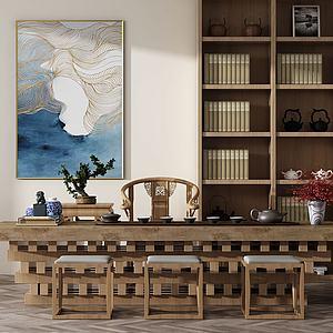 新中式泡茶桌组合模型