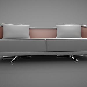 皮质双人沙发模型