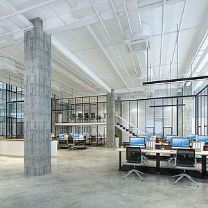 工业风办公室模型3d模型