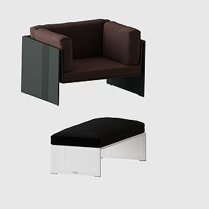 单人沙发脚蹬组合模型