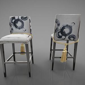 新中式风格吧椅模型
