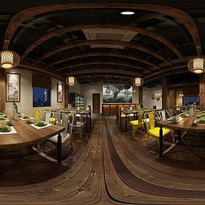新中式餐饮店模型