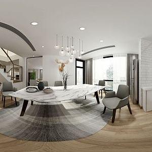 美式风格客餐厅模型