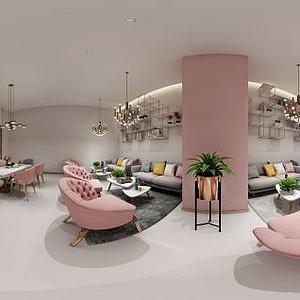 现代美容休息室模型